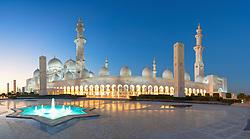 Night view of Sheikh Zayed Grand Mosque in Abu Dhabi United Arab Emirates