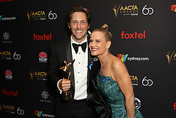 Australian Academy Cinema Television Arts (AACTA) Awards at The Star, Pyrmont. 05 Dec 2018 Pictured: Charlie Albone and Shaynna Blaze pose in the media room with an AACTA Award for AACTA Award for Best Lifestyle Program for Selling Houses Australia. Photo credit: Richard Milnes / MEGA TheMegaAgency.com +1 888 505 6342