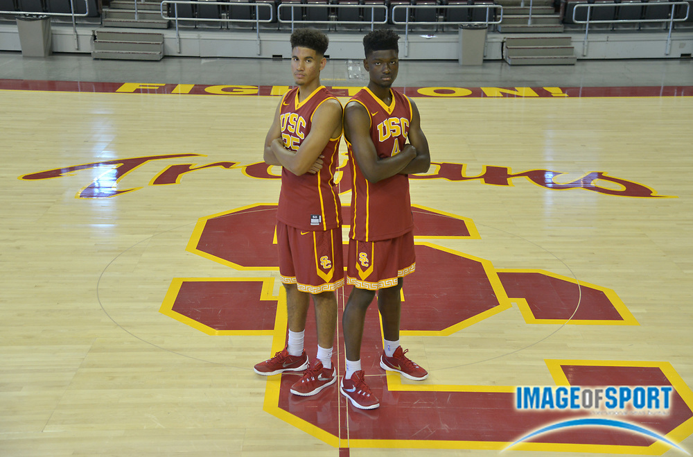 Sep 25, 2015; Los Angeles, CA, USA: Southern California Trojans forwards Bennie Boatwright (25) and Chimezie Metu (4) pose at media day at the Galen Center.