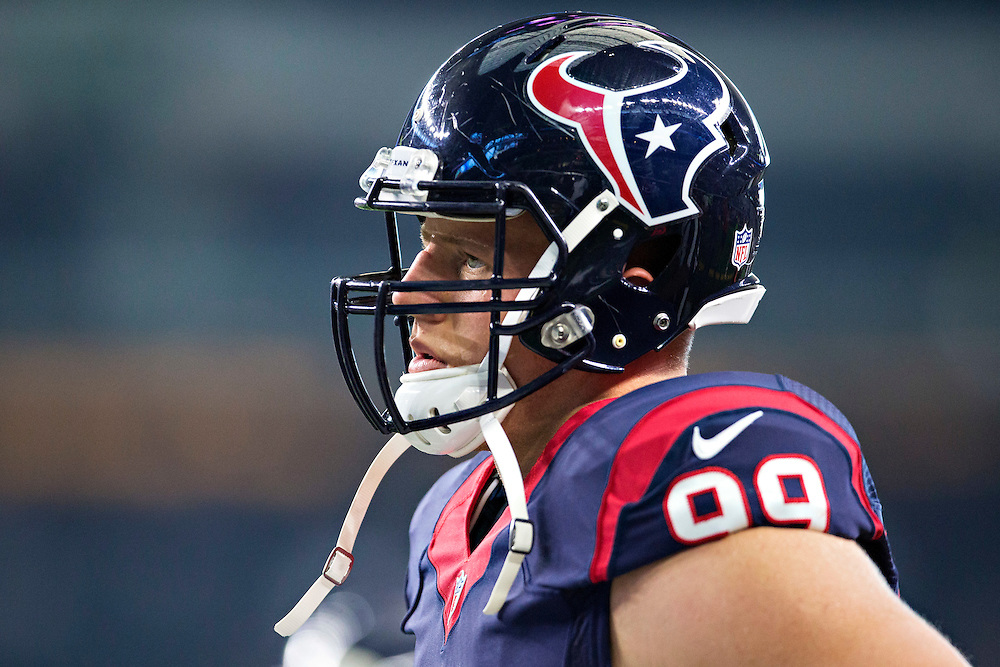 ARLINGTON, TX - SEPTEMBER 3:  J.J. Watt #99 of the Houston Texans warming up before a preseason game against the Dallas Cowboys at AT&T Stadium on September 3, 2015 in Arlington, Texas.  The Cowboys defeated the Texans 21-14.  (Photo by Wesley Hitt/Getty Images) *** Local Caption *** J.J. Watt