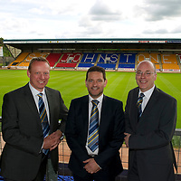 St Johnstone Vice Chairman Steve Brown (centre) pictured with Grant Cullen (left) who has been appointed as the clubs new General Manager and Paul Smith who has been made the clubs Football Administrator.....31.05.10<br /> see story by Gordon Bannerman Tel: 07729 865788<br /> Picture by Graeme Hart.<br /> Copyright Perthshire Picture Agency<br /> Tel: 01738 623350  Mobile: 07990 594431