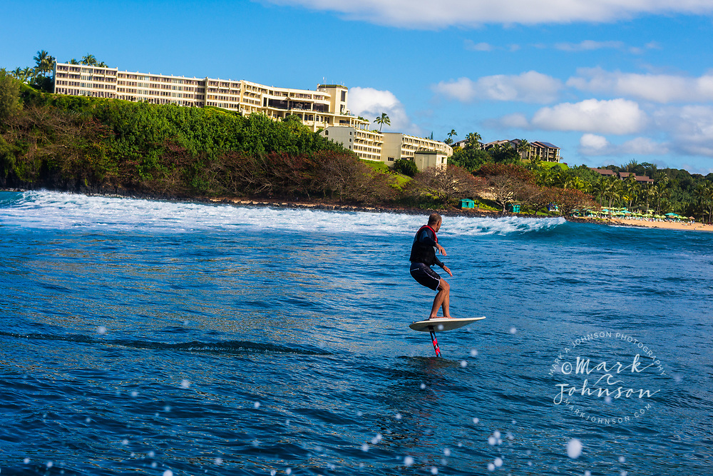 Foil surfing, Hanalei Bay, Kauai, Hawaii ***Model Release available