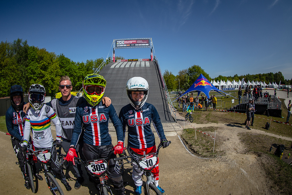 Team USA during practice of Round 3 at the 2018 UCI BMX Superscross World Cup in Papendal, The Netherlands