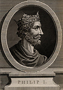 Philip I (1052-1108) a member of the Capetian dynasty. King of France from 1060 although his mother, Anne of Kieve, acted as Regent from 1060-1066.  Copperplate engraving, 1793.