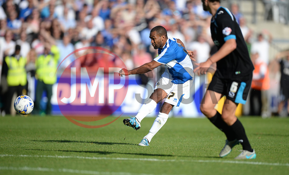 Bristol Rover's Jermaine Easter strikes the ball outside the box which hits the post. - Mandatory byline: Alex James/JMP - 07966 386802 - 26/09/2015 - FOOTBALL - Memorial Stadium - Bristol, England - Bristol Rovers v Portsmouth - Sky Bet League Two