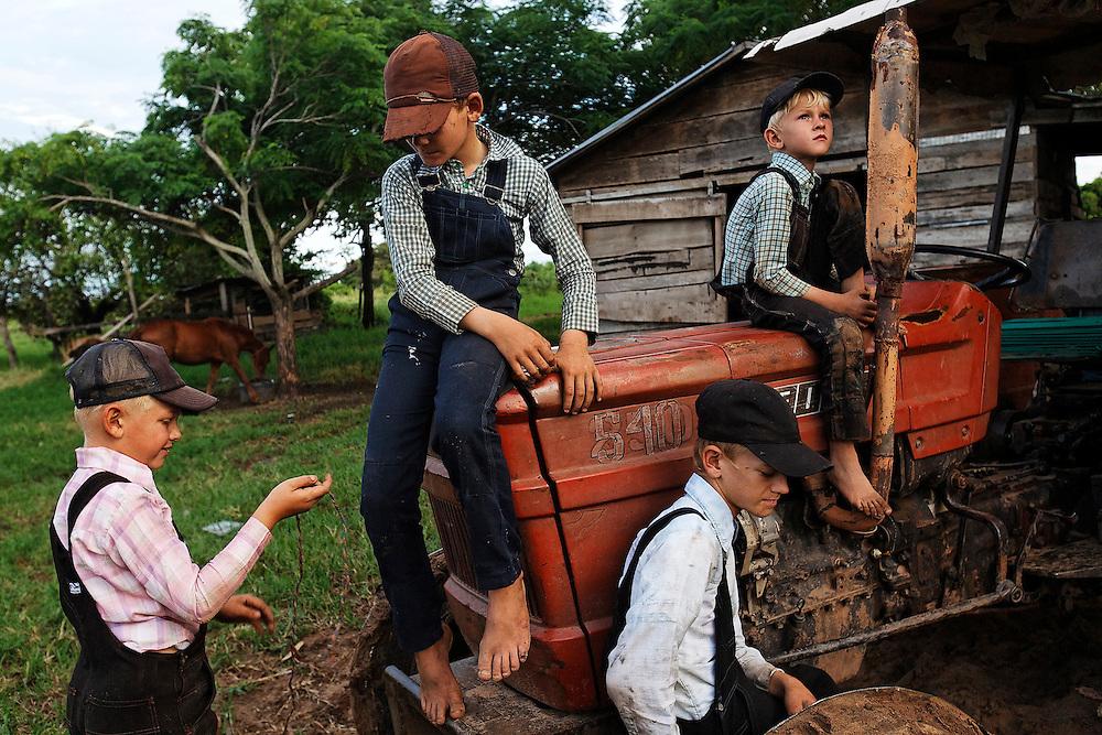 Mennonite boys mingle with their neighbors.