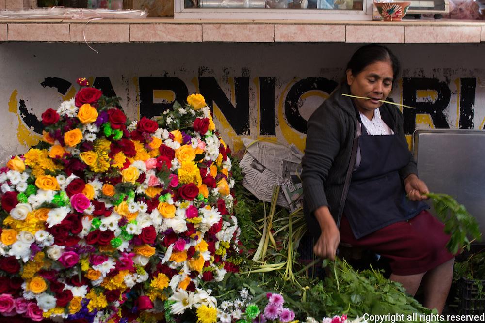 A flower seller works under a counter in Oaxaca's Abastos market, Oaxaca, Mexico