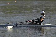 Hazenwinkel, BELGIUM,  Men's Single Scull, Simon FIELDHOUSE,  in the last stroke of the morning time trial, at the GB Rowing Senior Trials, on Sun,15.04.2007  [Credit, Peter Spurrier/Intersport-images]   [Mandatory Credit, Peter Spurier/ Intersport Images]. , Rowing Course, Bloso, Hazewinkel. BELGUIM