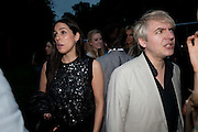 JESSICA DE ROTHSCHILD; NICK RHODES, The Summer party 2011 co-hosted by Burberry. The Summer pavilion designed by Peter Zumthor. Serpentine Gallery. Kensington Gardens. London. 28 June 2011. <br /> <br />  , -DO NOT ARCHIVE-© Copyright Photograph by Dafydd Jones. 248 Clapham Rd. London SW9 0PZ. Tel 0207 820 0771. www.dafjones.com.