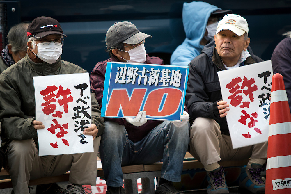 OKINAWA, JAPAN - JANUARY 21 : Anti U.S. Base relocation protesters stage a rally outside the Camp Schwab to protest against the construction of the new U.S Marine Airbase in Henoko, Nago, Okinawa, Japan on January 21, 2017. (Photo by Richard Atrero de Guzman/ANADOLU Agency)