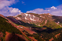 Panoramic views from hiking trail atop the Elk Camp chairlift, Snowmass Village (Aspen), Colorado USA.