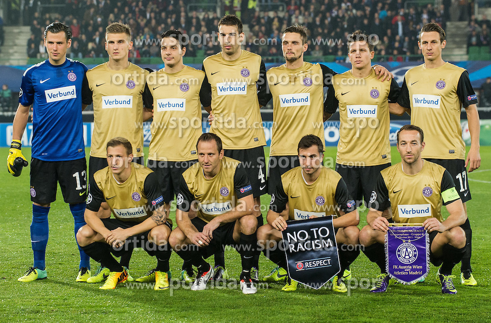 22.10.2013, Ernst Happel Stadion, AUT, UEFA Champions League, FK Austria Wien vs Atletico Madrid, Gruppe G, im Bild Mannschaftsfoto Heinz Lindner, (FK Austria Wien, #13), Kaja Rogulj, (FK Austria Wien, #4), Tomas Jun, (FK Austria Wien, #11), Manuel Ortlechner, (FK Austria Wien, #14), Philipp Hosiner, (FK Austria Wien, #16), Florian Mader, (FK Austria Wien, #17) Marko Stankovic, (FK Austria Wien, #19), James Holland, (FK Austria Wien, #25), Emir Dilaver, (FK Austria Wien, #27), Daniel Royer, (FK Austria Wien, #28) Markus Suttner, (FK Austria Wien, #29) (nicht geordnet!) // during the UEFA Champions League group G match between FK Austria Vienna and Club Atletico de Madrid at the Ernst Happel Stadion in Vienna, Austria on 2013/10/22. EXPA Pictures © 2013, PhotoCredit: EXPA/ Michael Gruber