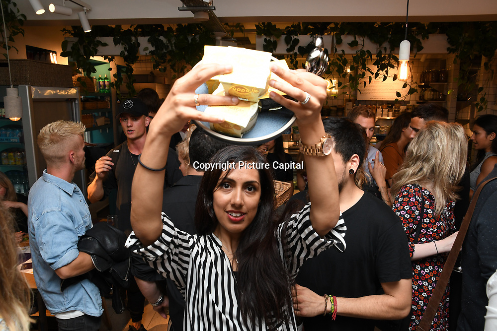 Razina Moosa from the Oppo party to launch its new Madagascan Vanilla, Sicilian Lemon and Raspberry Cheesecakes, served with Skinny Prosecco at Farm Girls Café, 1 Carnaby Street, Soho, London, UK on July 18 2018.
