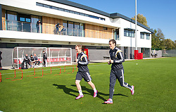 NEWPORT, WALES - Tuesday, October 7, 2014: Wales' Jonathan Williams and Gareth Bale training at Dragon Park National Football Development Centre ahead of the UEFA Euro 2016 qualifying match against Bosnia and Herzegovina. (Pic by David Rawcliffe/Propaganda)