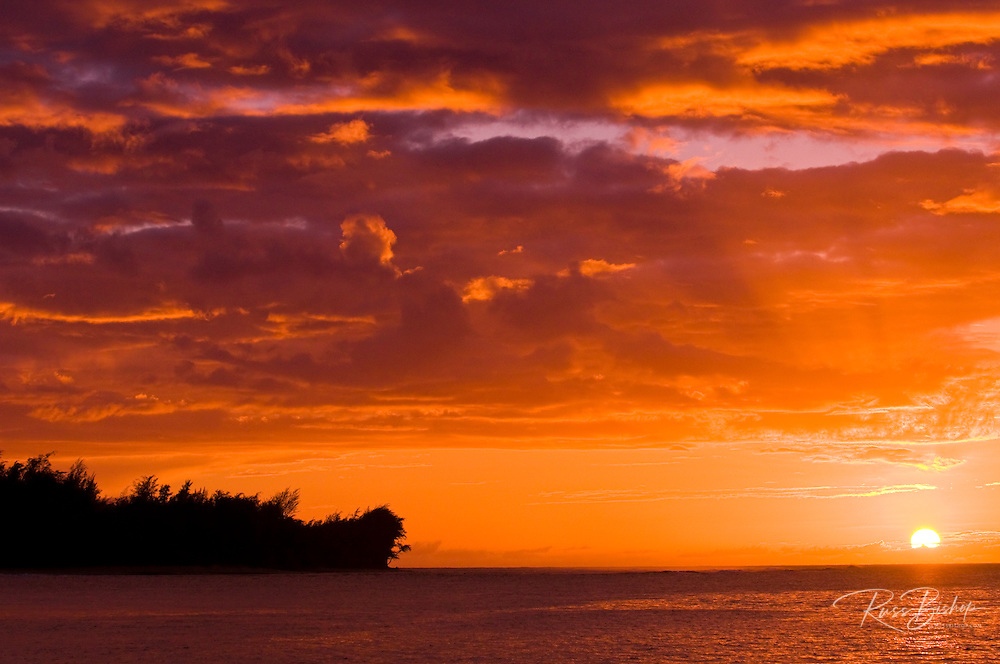 Sunset on the North Shore, Island of Kauai, Hawaii