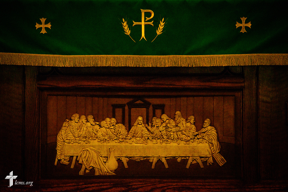A relief depicting the Lord's Supper on the altar of St. Paul Lutheran Church, San Antonio, Texas on Wednesday, Aug. 2, 2017, in San Antonio. LCMS Communications/Erik M. Lunsford