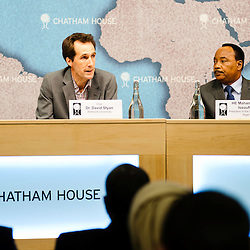 HE Mahamadou Issoufou, President of the Republic of Niger (Right), listen to Dr David Styan (Left) during the ?Niger?s Growing Regional and International Importance? conference at Chatham House.