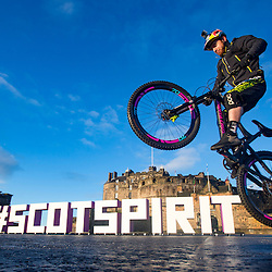 Danny MacAskill on Edinburgh Castle esplanade.
