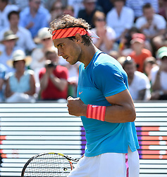 14.06.2015, Tennis Club Weissenhof, Stuttgart, GER, ATP Tour, Mercedes Cup Stuttgart, Finale, im Bild Rafael Nadal (ESP) gewinnt das erste Rasenturnier in Stuttgart. Jubel Emotion, Freude, ueber gewonnenen Punkt<br /> Finale // during final match of the Mercedes Cup of ATP world Tour at the Tennis Club Weissenhof in Stuttgart, Germany on 2015/06/14. EXPA Pictures &copy; 2015, PhotoCredit: EXPA/ Eibner-Pressefoto/ Michael Weber IMAGEPOWER<br /> <br /> *****ATTENTION - OUT of GER*****