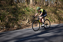 Grace Brown (AUS) solo at Trofeo Alfredo Binda 2019, a 131.1 km road race from Taino to Cittiglio, Italy on March 24, 2019. Photo by Sean Robinson/velofocus.com