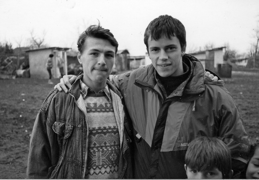 Radu Esanu with a friend at the orphanage of Popricani when he was 15 in 1993
