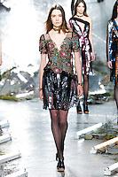 Taya Ermoshkina (New York Models) walks the runway wearing Rodarte Fall 2015 during Mercedes-Benz Fashion Week in New York on February 17, 2015