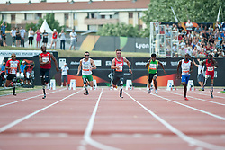 YAMAMOTO Atsushi, VANCE Shaquille, REARDON Scott, POPOW Heinrich, YODHA Jayalath, KAYITARE Clavel, WOODS Regas, JPN, USA, AUS, GER, SRI, FRA, 100m, T42, 2013 IPC Athletics World Championships, Lyon, France
