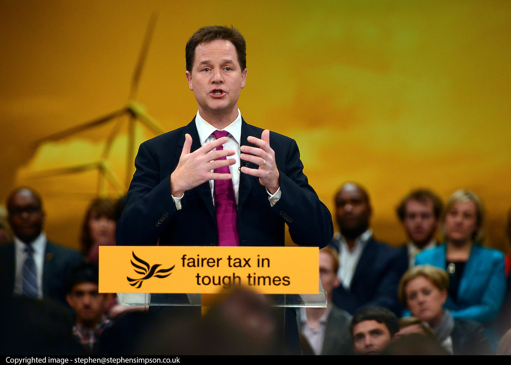 © Licensed to London News Pictures. 26/09/2012. Brighton, UK Deputy Prime Minister and leader of the Liberal Democrat Party, Nick Clegg, delivers his keynote speech at the Liberal Democrat Conference at the Brighton Centre in Brighton today 25th September 2012. Photo credit : Stephen Simpson/LNP