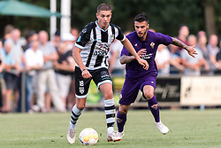 (L-R) Kristoffer Peterson of Heracles Almelo, Lorenzo Venuti of ACF Fiorentina during the Pre-season Friendly match between Heracles Almelo and Fiorentina at Sportpark Wiesel  on August 01, 2018 in Wenum-Wiesel , The Netherlands