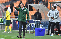 South Africa: Johannesburg: Bafana Bafana coach Stuart Baxter gestures during the Africa Cup Of Nations qualifiers against Seychelles at FNB stadium, Gauteng.<br />