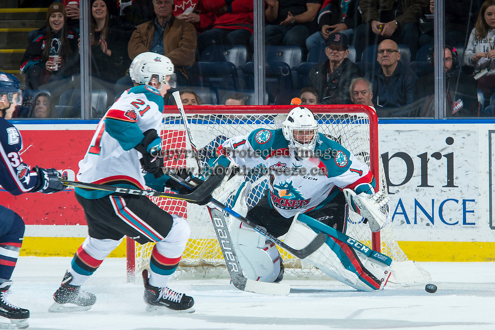 KELOWNA, CANADA - JANUARY 3: James Porter #1 of the Kelowna Rockets defends the net against the Tri-City Americans on January 3, 2017 at Prospera Place in Kelowna, British Columbia, Canada.  (Photo by Marissa Baecker/Shoot the Breeze)  *** Local Caption ***