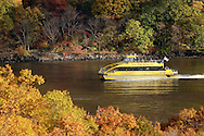 Fort Montgomery, NY - A New York Water Taxi boat on a fall foliage tour sails north on the Hudson River on on Nov. 2, 2008.