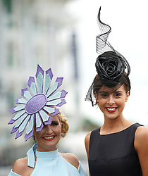 Rachel Oates and Charlotte Hamilton during Ladies Day of the 2019 Invested Derby Festival at Epsom Racecourse, Epsom.