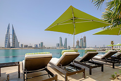 View of Bahrain skyline  from new Four Seasons Bahrain Bay luxury Hotel in Bahrain