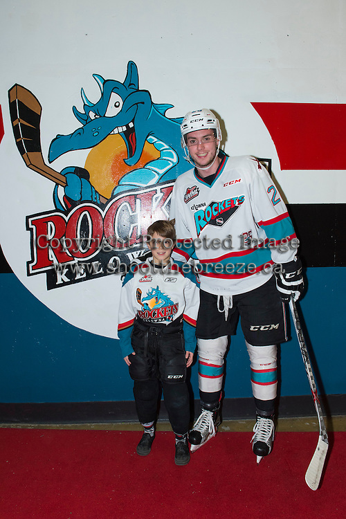 KELOWNA, CANADA - FEBRUARY 2: Cole Linaker #26 of Kelowna Rockets poses with the Pepsi Player on February 2, 2016 at Prospera Place in Kelowna, British Columbia, Canada.  (Photo by Marissa Baecker/Shoot the Breeze)  *** Local Caption *** Cole Linaker; Pepsi Player;