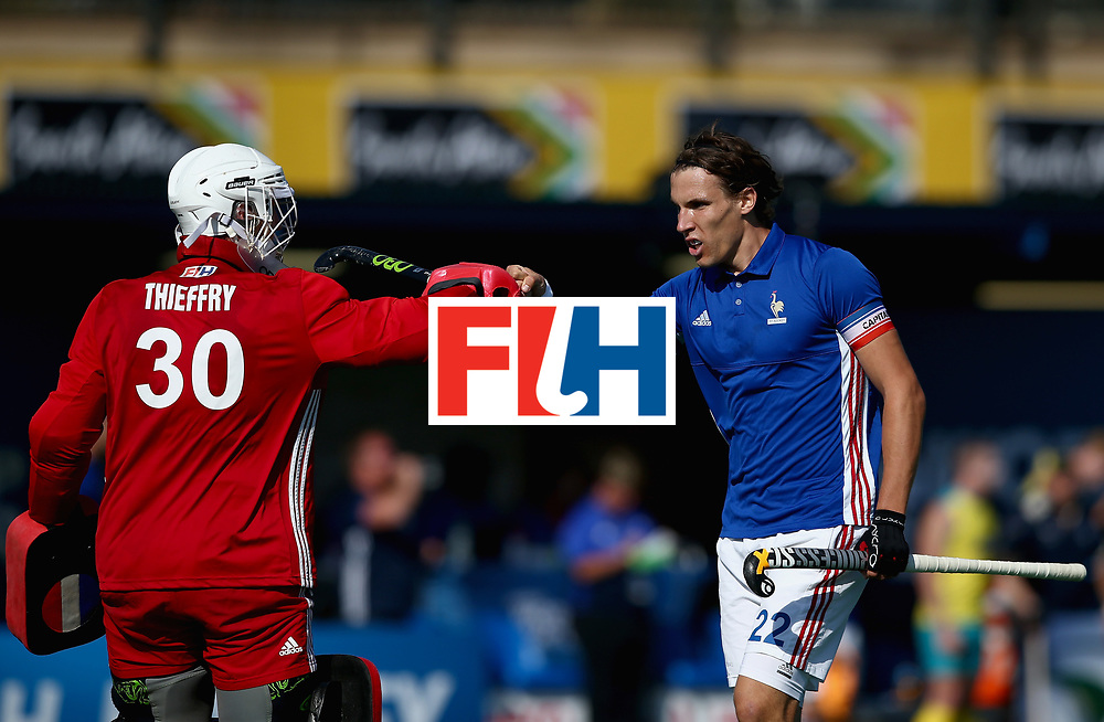 JOHANNESBURG, SOUTH AFRICA - JULY 11: Arthur Thieffry of France and Victor Charlet of France celebrates their teams second goal  during day 2 of the FIH Hockey World League Semi Finals Pool A match between Australia and France at Wits University on July 11, 2017 in Johannesburg, South Africa. (Photo by Jan Kruger/Getty Images for FIH)