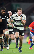 Twickenham, Surrey. England.  Baa Baa's George BRIDGE, during the Killik Cup, Barbarians vs New Zealand. Twickenham. UK<br /> <br /> Saturday  04.11.17<br /> <br /> [Mandatory Credit Peter SPURRIER/Intersport Images]