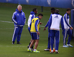 © Licensed to London News Pictures. 22/12/2015. London, UK. Chelsea football club interim manager Guus Hiddink (L) takes a training session at the club's Cobham ground. Photo credit: Peter Macdiarmid/LNP