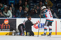 KELOWNA, CANADA - FEBRUARY 1: Kelowna Rockets' athletic therapist Scott Hoyer gestures to Dillon Dube #19 as he tends to Kole Lind #16 of the Kelowna Rockets after a check into the boards by the Calgary Hitmen the on February 1, 2017 at Prospera Place in Kelowna, British Columbia, Canada.  (Photo by Marissa Baecker/Shoot the Breeze)  *** Local Caption ***
