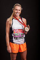 Amy Guy, former Miss World Sport & Fitness, formerly 'Siren' in Gladiators. Portraits of celebrities shortly after they have crossed the line to finish the Virgin Money London Marathon 2014 at the finish line on Sunday 13 April 2014<br /> Photo: Dillon Bryden/Virgin Money London Marathon<br /> media@london-marathon.co.uk