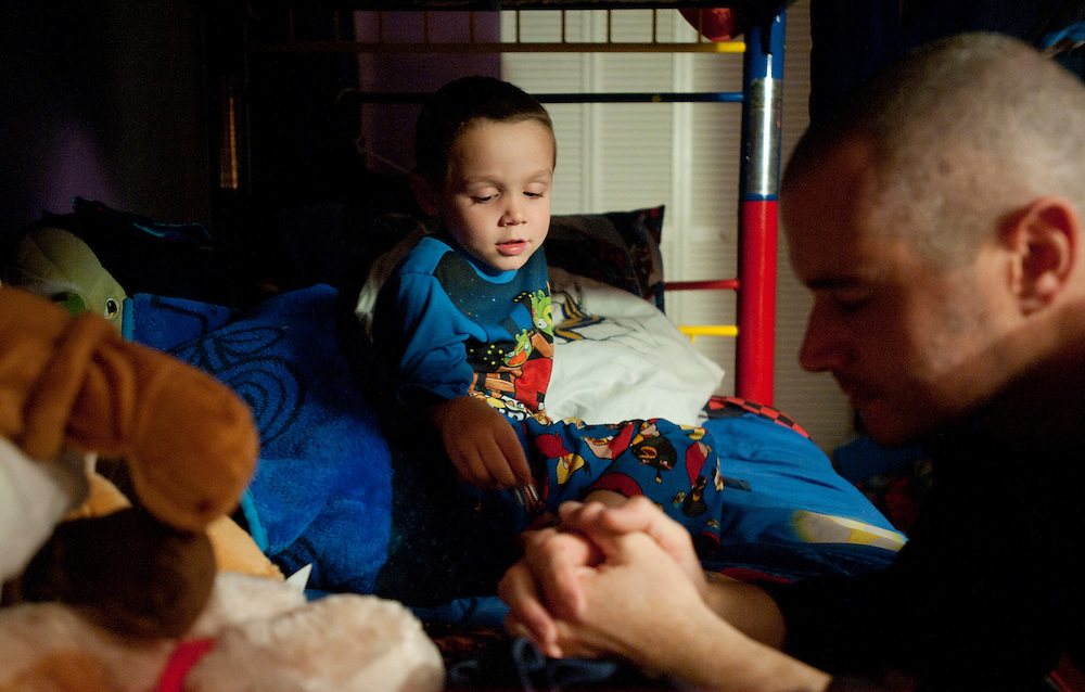 """Every night before bed, Bobby and Dawn Norman pray with and for each of their children as they snuggle into their bunkbeds.  """"Cancer is not going to separate us from Nathan because one day, we will see him again,"""" Dawn Norman said."""