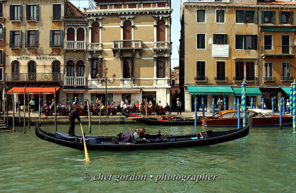 Gondola ride along the Grand Canal in Venice, Italy. April 2002.