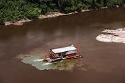 Gold Dredger<br /> Mazaruni River<br /> GUYANA<br /> South America<br /> Longest river in Guyana