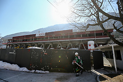Ice hockey players walking from temporary ice hall during econstruction of Arena Podmezakla in Jesenice few months before FIBA EuroBasket 2013 at Podmezalka Hall, on March 16, 2013, in Jesenice, Slovenia. (Photo by Matic Klansek Velej / Sportida)
