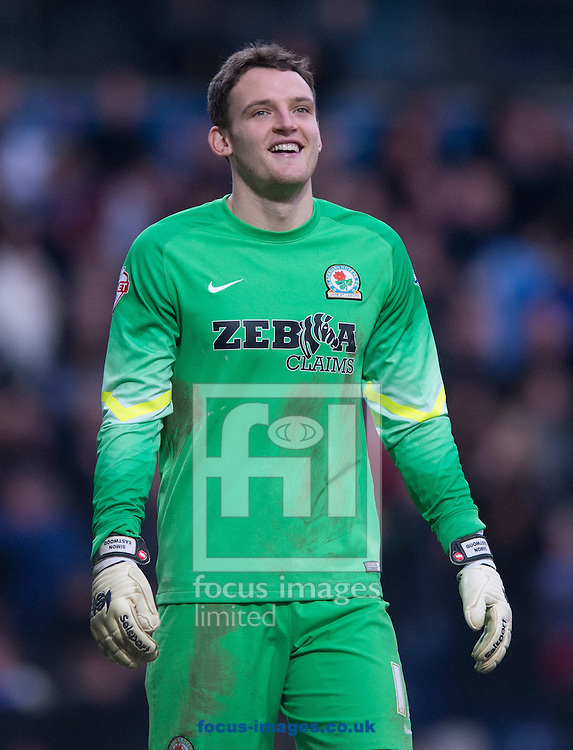 Blackburn Rovers goalkeeper Simon Eastwood smiles after his team go 4-1 up during the FA Cup match at Ewood Park, Blackburn<br /> Picture by Russell Hart/Focus Images Ltd 07791 688 420<br /> 14/02/2015