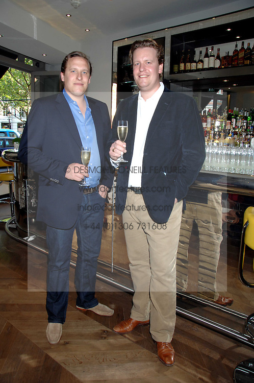 Left to right, brothers ED MARTIN and TOM MARTIN restauranters at the opening party of the restaurant and bar The Botanist, 7 Sloane Square, London SW1 on 13th May 2008.<br />