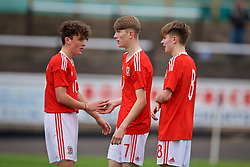 MERTHYR TYDFIL, WALES - Thursday, November 2, 2017: Wales' Sam Reynolds celebrates scoring the fourth goal during an Under-18 Academy Representative Friendly match between Wales and Newport County at Penydarren Park. (Pic by David Rawcliffe/Propaganda)