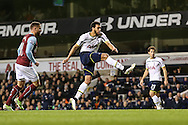 Etienne Capoue of Tottenham Hotspur (2nd left) scores his team's second goal against Burnley to make it 2-2 during the FA Cup match at White Hart Lane, London<br /> Picture by David Horn/Focus Images Ltd +44 7545 970036<br /> 14/01/2015