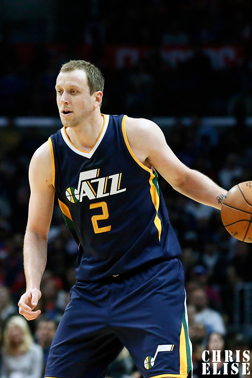 25 March 2016: Utah Jazz forward Joe Ingles (2) brings the ball up court during the Los Angeles Clippers 108-95 victory over the Utah Jazz, at the Staples Center, Los Angeles, California, USA.