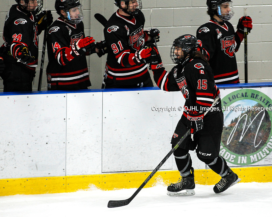 MILTON, ON  - NOV 3,  2017: Ontario Junior Hockey League game between the North York Rangers and the Milton IceHawks, Brandon Sabatini #15 of the Milton Icehawks celebrates the goal during the second period.<br /> (Photo by Brian Watts / OJHL Images)